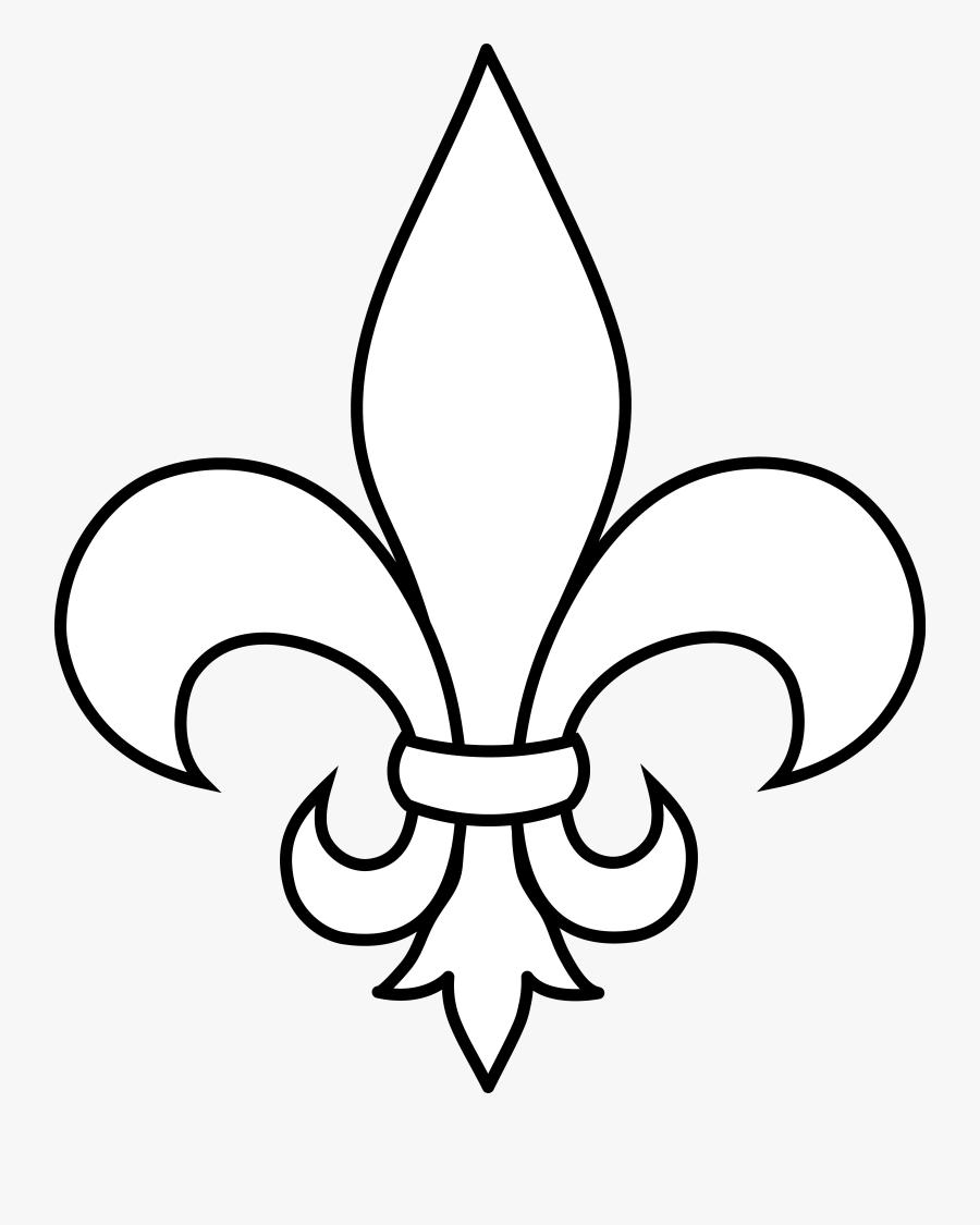 Black And White Fleur De Lis Outline - Fleur De Lis Clip Art, Transparent Clipart