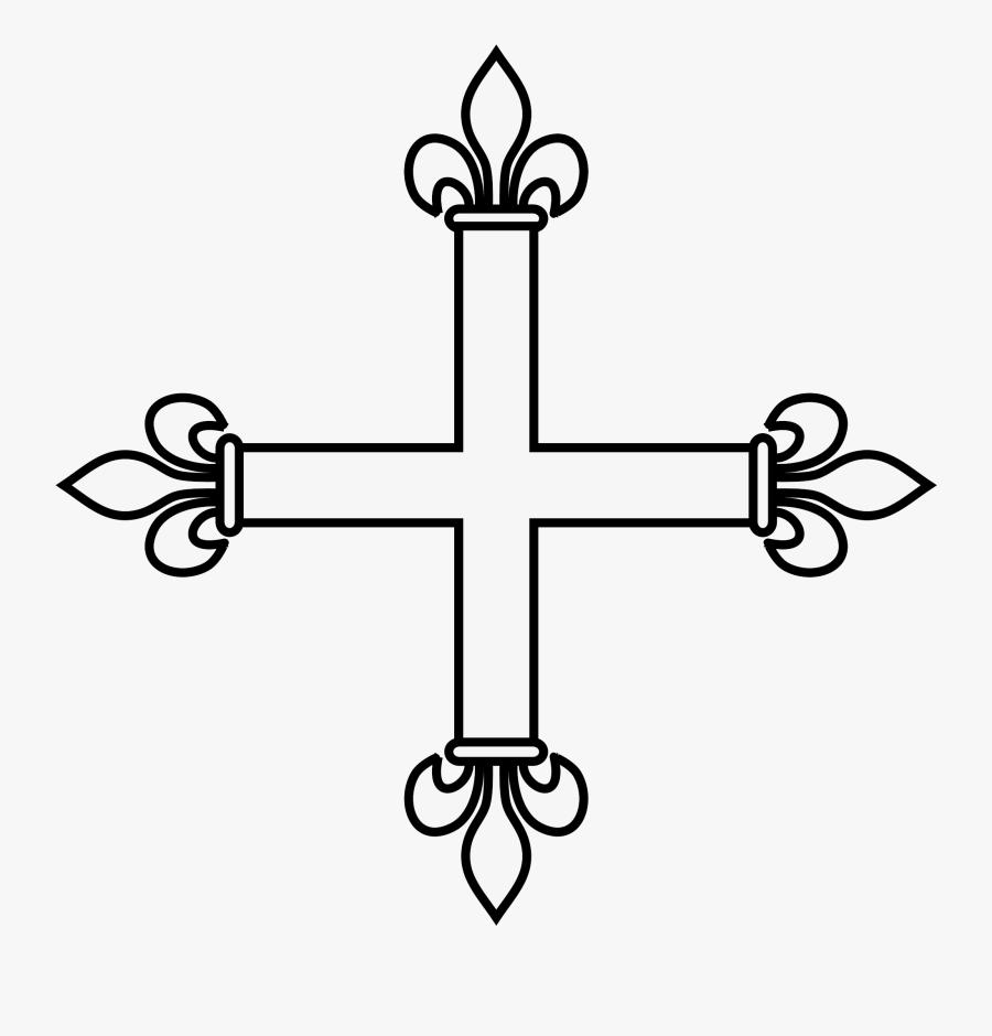 Clip Art File Coa Illustration Svg - Cross And Fleur De Lys, Transparent Clipart