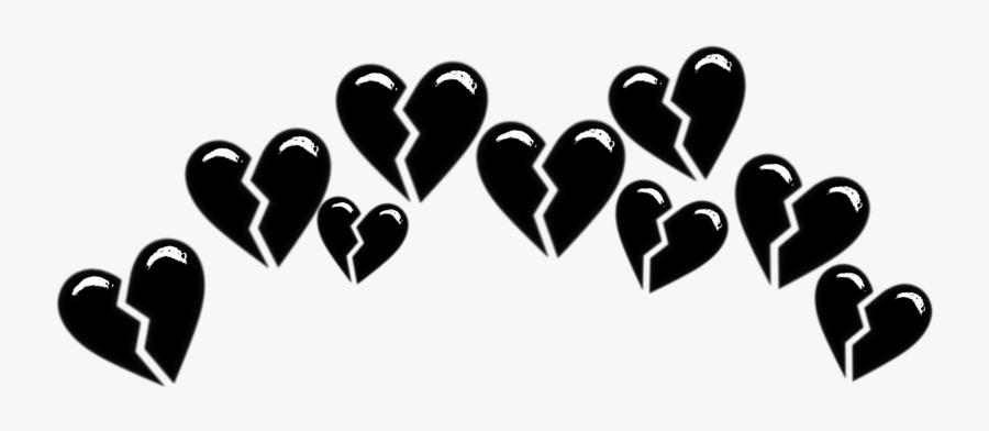 #broken #brokenheart #heart #hearts #tumblr #black - Black Broken Heart Emoji Crown, Transparent Clipart