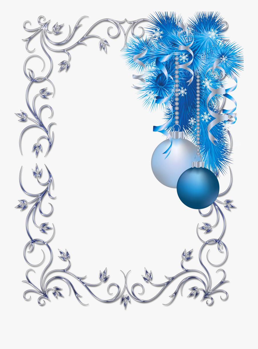 Large Transparent Christmas Blue And White Photo Frame - Blue Christmas Page Border, Transparent Clipart
