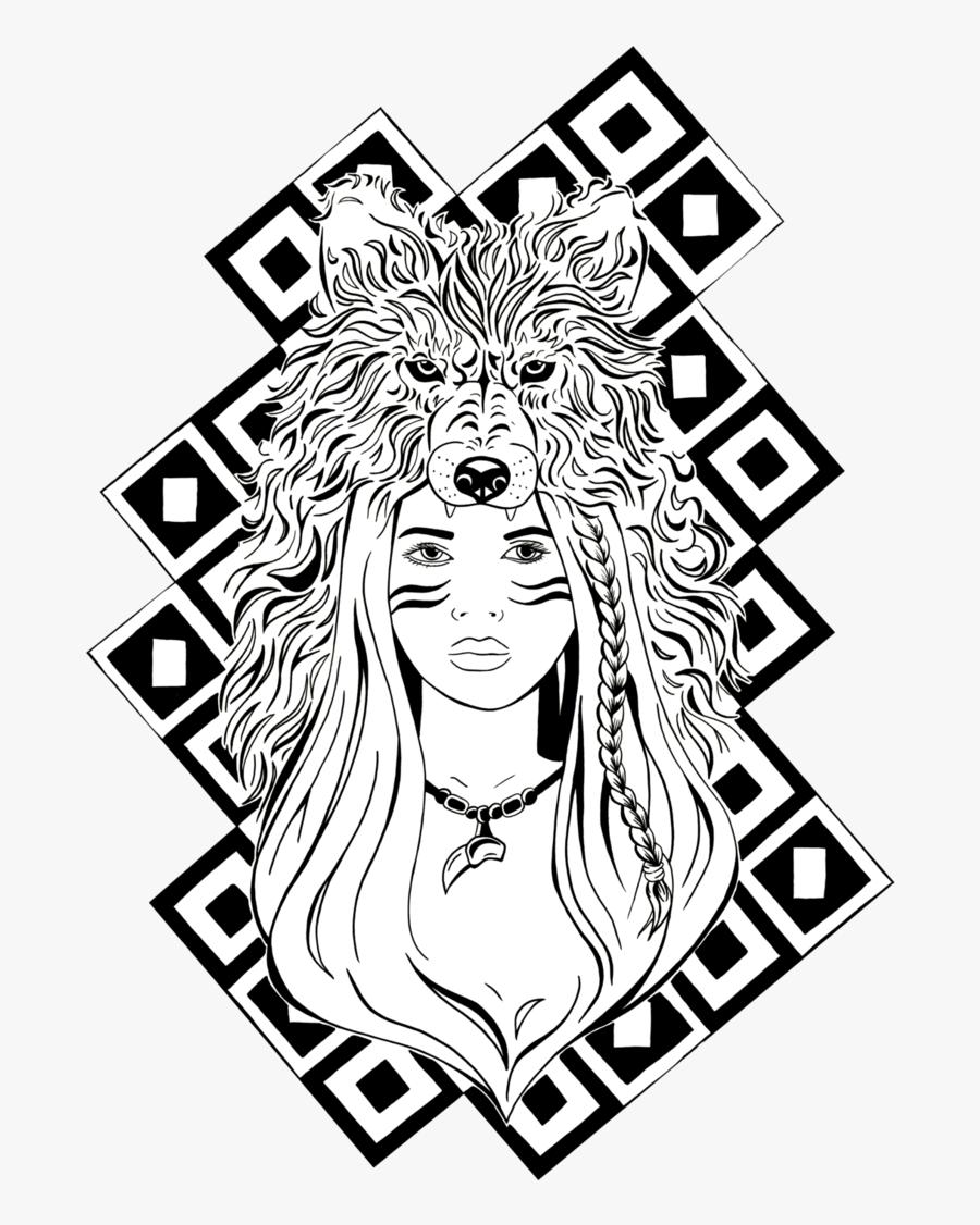 #wolf #werewolf #girl #bohemian #animal #freetoedit - Drawing, Transparent Clipart