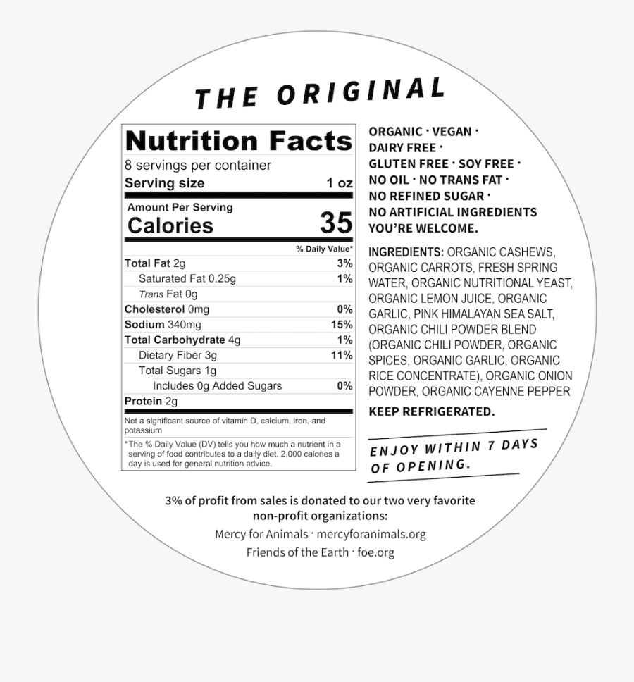 The Original Hey Babe Organic Cashew Cheese Hey Babe - Twin Peaks Protein Puffs Nutrition Facts, Transparent Clipart
