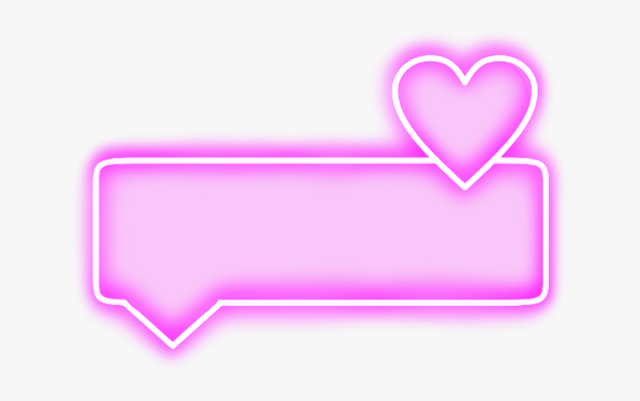 #neon #heart #rectangle#pink #bubble #text #word #frame - Pink Neon Hearts Png, Transparent Clipart