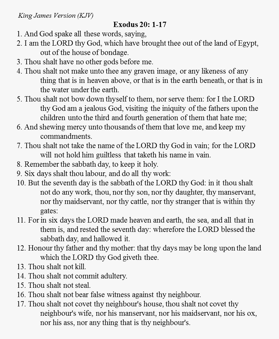 Ten Commandments Kjv Only, Transparent Clipart