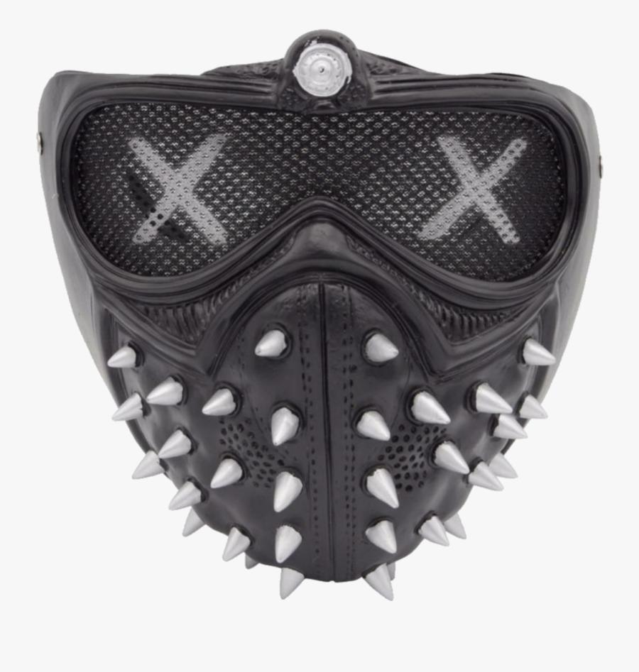 #mask #gasmask #gasmasks #spikes #spike #black #leather - Watch Dogs 2 Led Mask, Transparent Clipart
