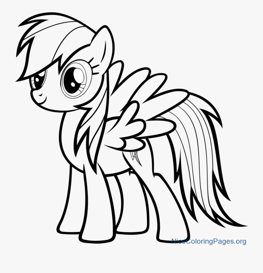 How To Draw Rainbow Dash Character For Kids - Mlp Rainbow Dash Coloring Pages, Transparent Clipart