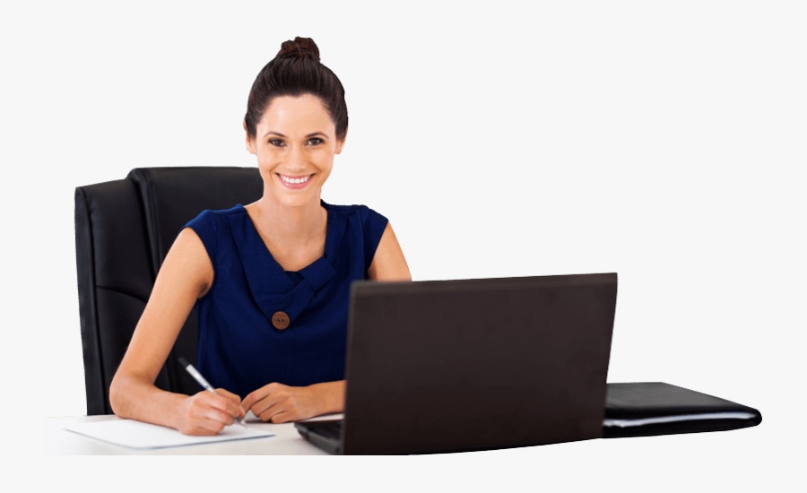 Person Writing Png - Smiling Woman At Work, Transparent Clipart