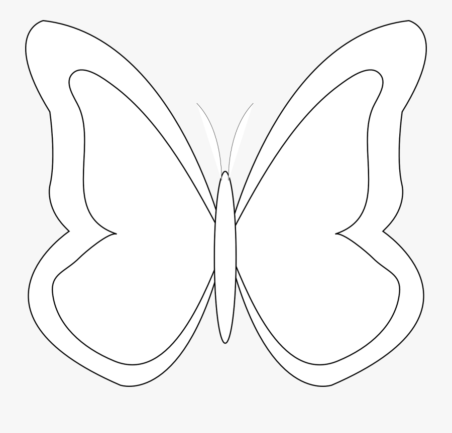 Transparent Simple Butterfly Outline Clipart - Clip Art Butterfly Outline, Transparent Clipart
