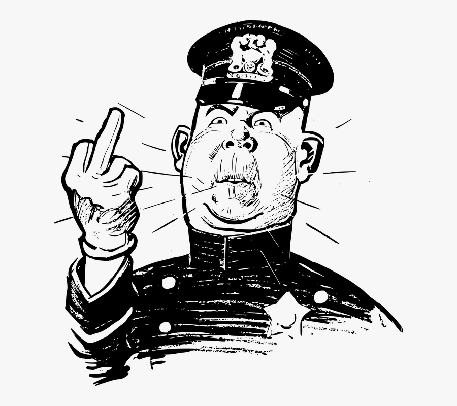 Transparent Angry Old Man Png - Police Officer Middle Finger, Transparent Clipart