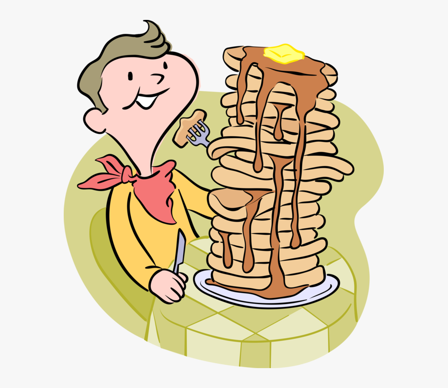 Vector Illustration Of Boy Eating Pancake Flapjack - Person Eating Pancakes Cartoon, Transparent Clipart