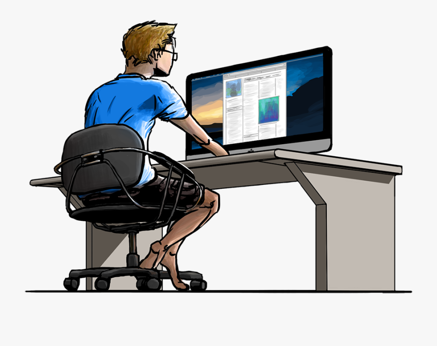 Mad At Computer Png - Guy Working On A Computer , Free Transparent Clipart  - ClipartKey