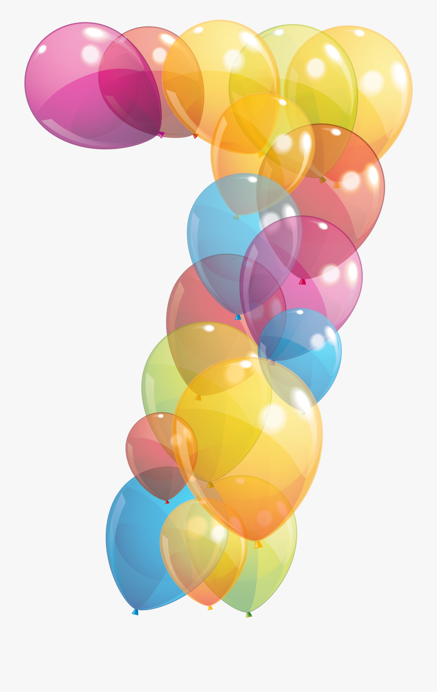 Transparent Seven Number Of Balloons Png Clipart Image - Transparent Number 7 With Balloons Png, Transparent Clipart