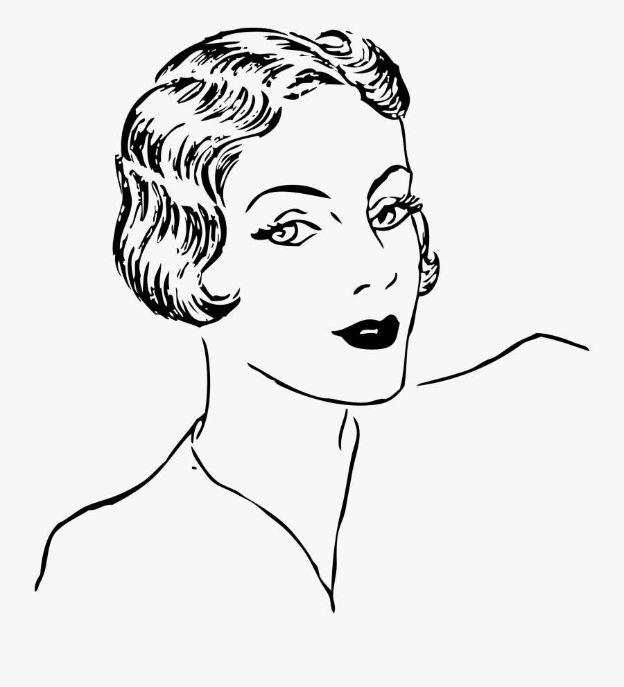 Clipart Woman Black And White - Fashion Woman Face Outline, Transparent Clipart