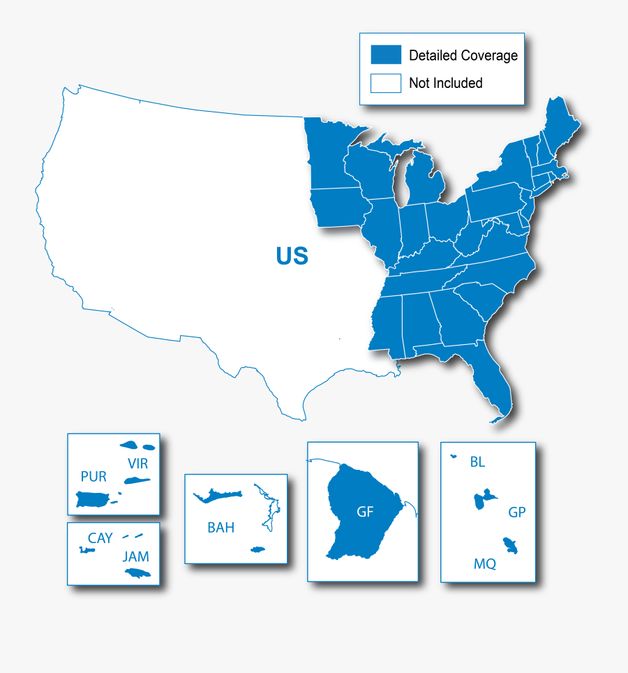 Garmin Lower 49 States Se Map, Transparent Clipart
