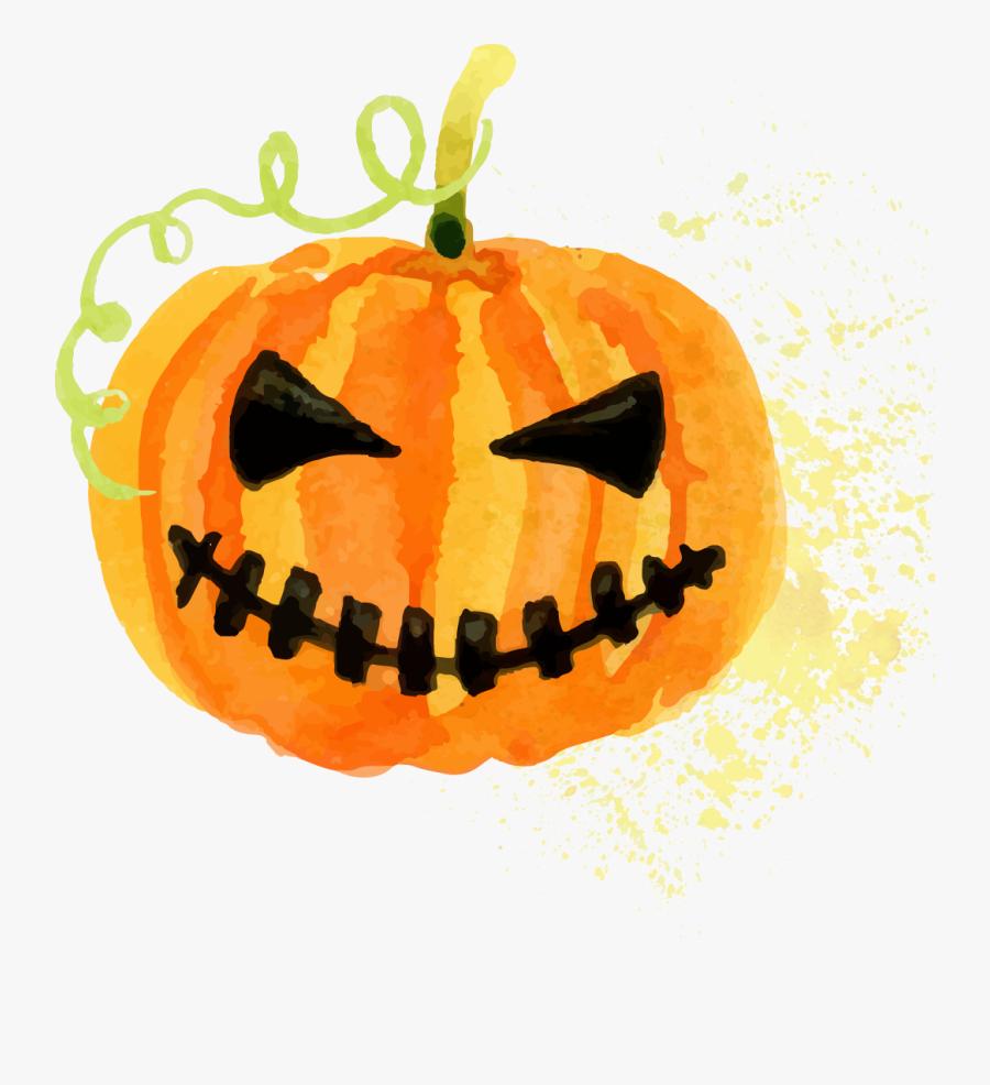 """Halloween Costume Pumpkin Jack O"""" Lantern - Halloween Watercolor Pumpkin Clipart, Transparent Clipart"""