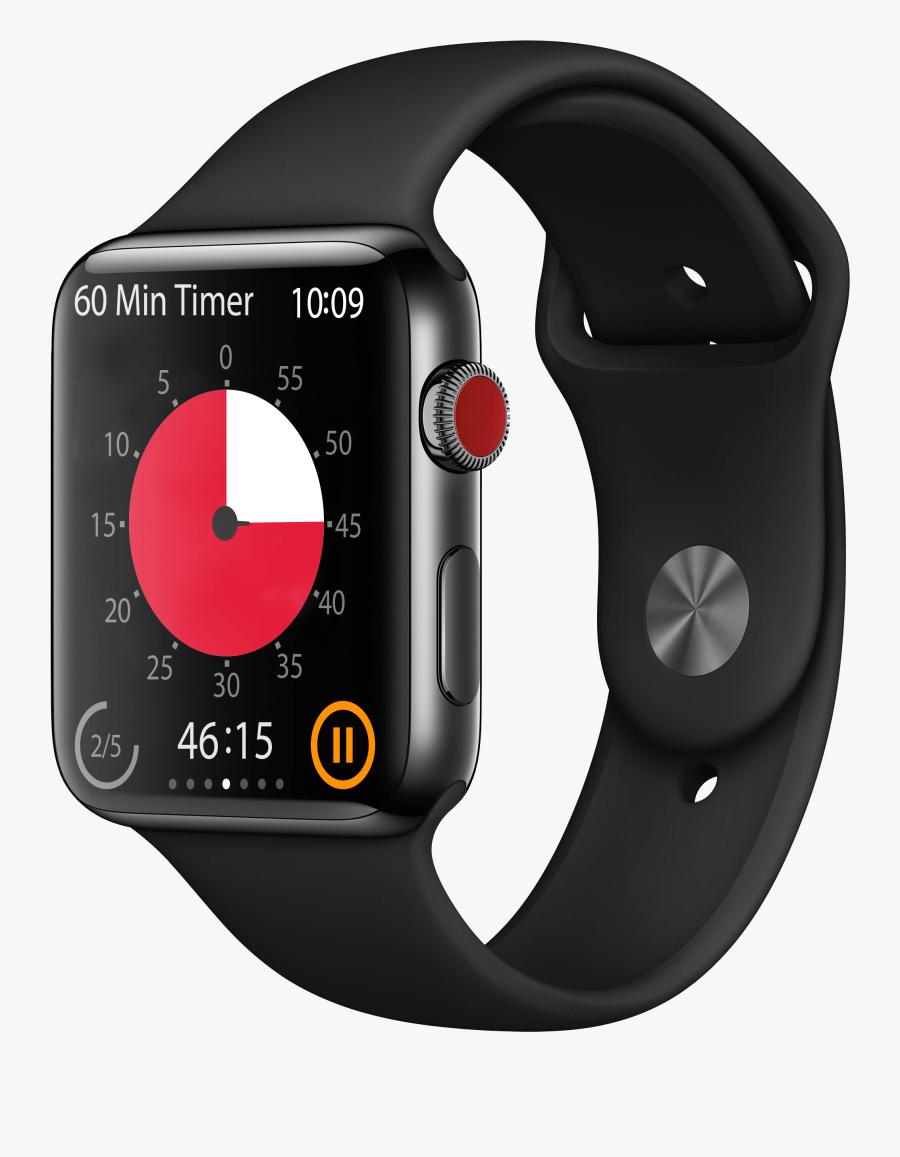 Apple Watch Angle Black Original 45min Red V=1537209598 - Apple Watch Series 3 Cellular, Transparent Clipart