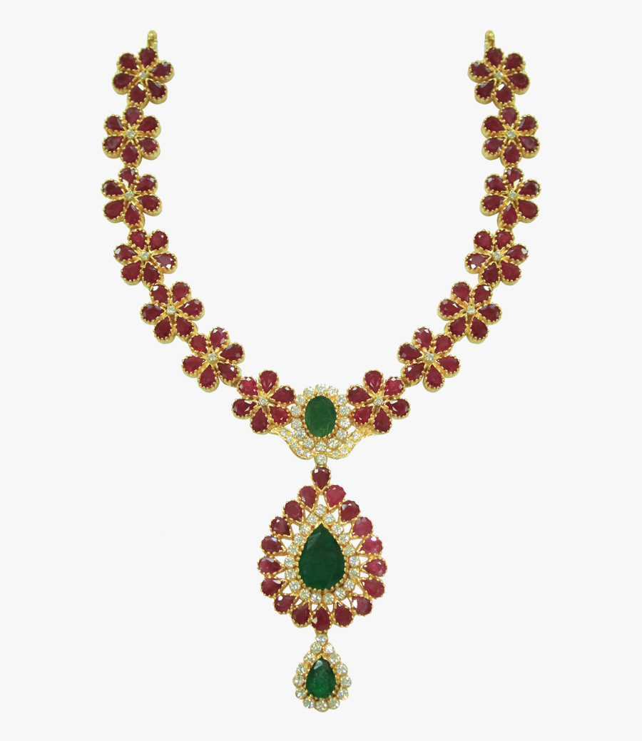 Sanghi Jewellers - Emerald And Ruby Stone Gold Necklace, Transparent Clipart