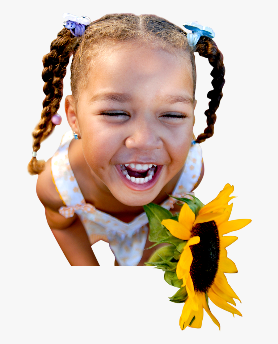 Happy Smiling Young Girl Holding A Sunflower - Joyful Child, Transparent Clipart