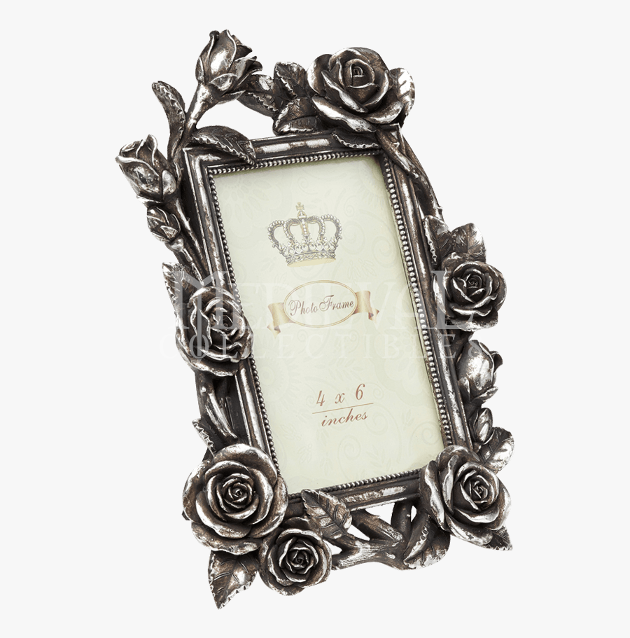 Rose Vine Antiqued Silver Photo Frame Alchemy Png - Picture Frame, Transparent Clipart