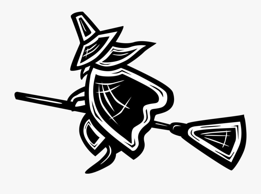 Vector Illustration Of Halloween Sorceress Witch Flying - Jack-o'-lantern, Transparent Clipart