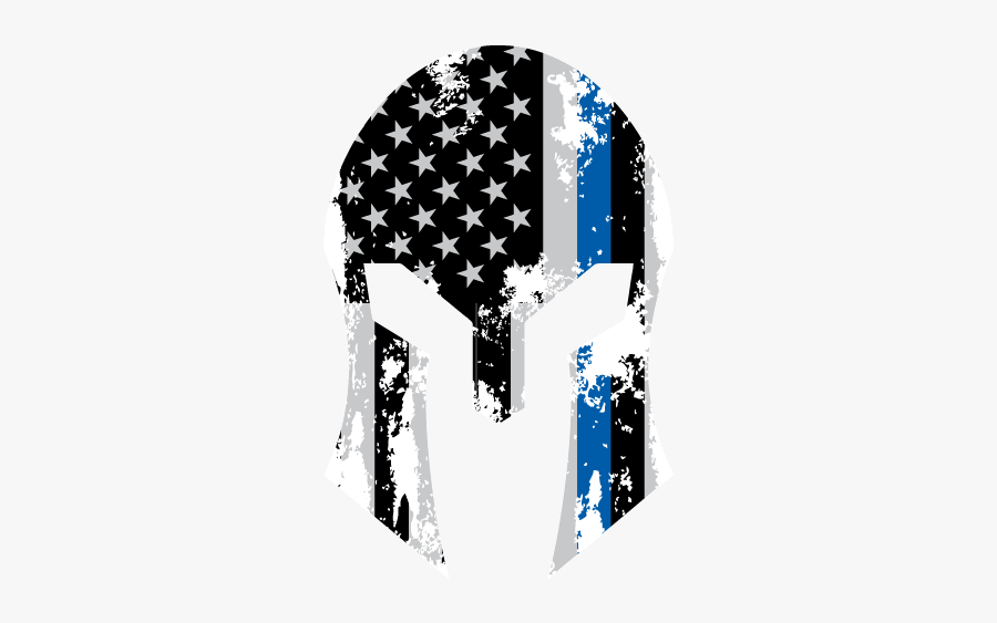 Thin Blue Line American Flag Helmet Decal - Thin Blue Line Football, Transparent Clipart