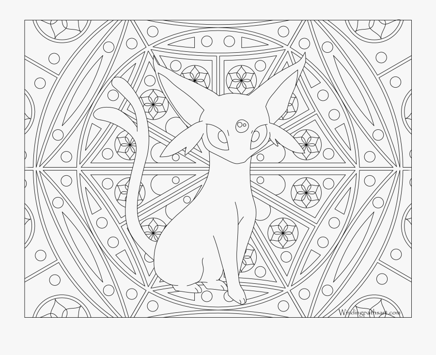 Free Printable Pokemon Coloring Page Espeon Visit Our - Adult Coloring Pages Pokemon, Transparent Clipart
