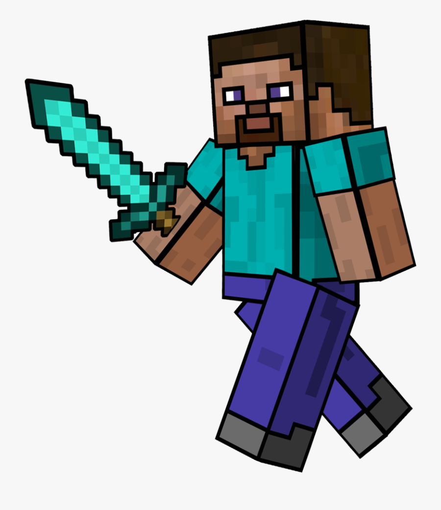 Clip Free Minecraft Steve Clipart Minecraft Steve Diamond Sword