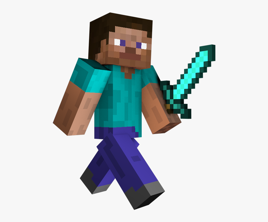 Transparent Free Minecraft Clipart Minecraft Steve With Sword