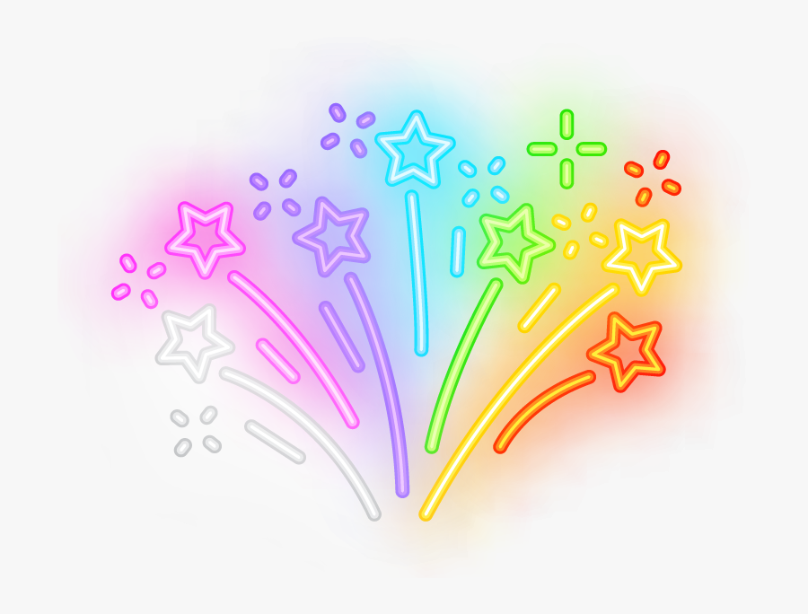 #stars #star #fireworks #meteor #luminous #neon #colorful - Shooting Star Neon Png, Transparent Clipart