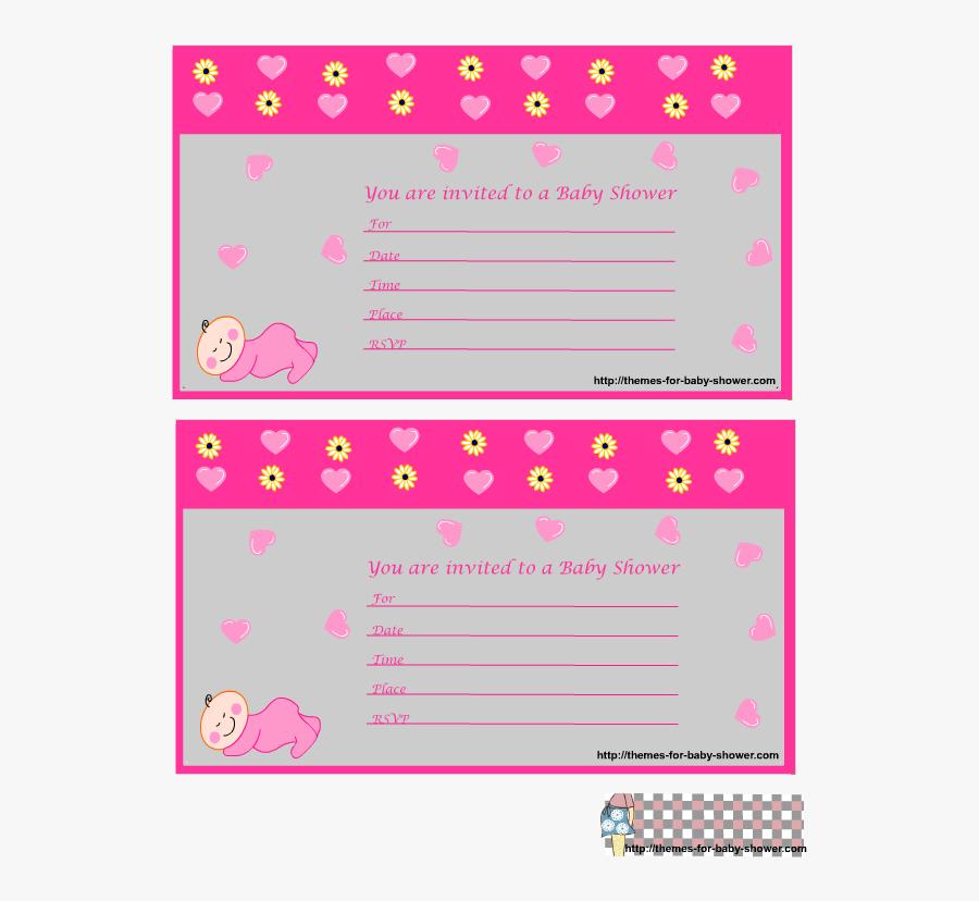 Clip Art Baby Girl Announcement Template - Invitacion Baby Shower Monito, Transparent Clipart