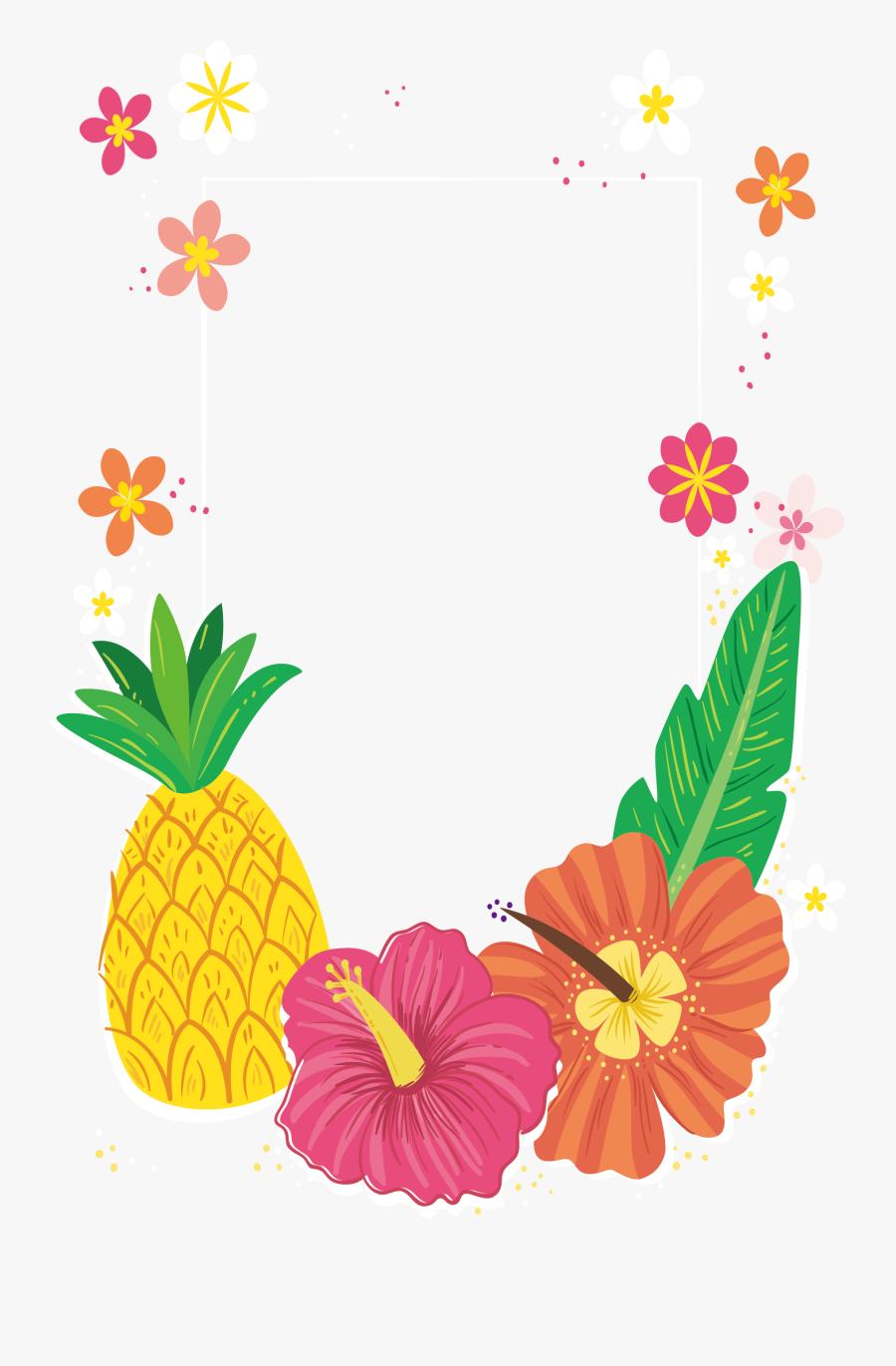 Tropical Colored Flower Decorative - Frame Tropical Pineapple Border, Transparent Clipart