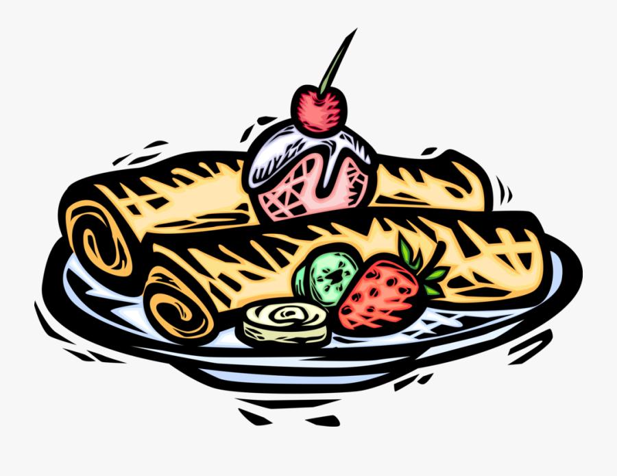 Vector Illustration Of Thin Wheat Flour Pancake Crêpe - Crepes Clip Art, Transparent Clipart