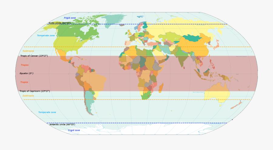 World Map Indicating Tropics And Subtropics - Countries Have Tropical Rainforests, Transparent Clipart