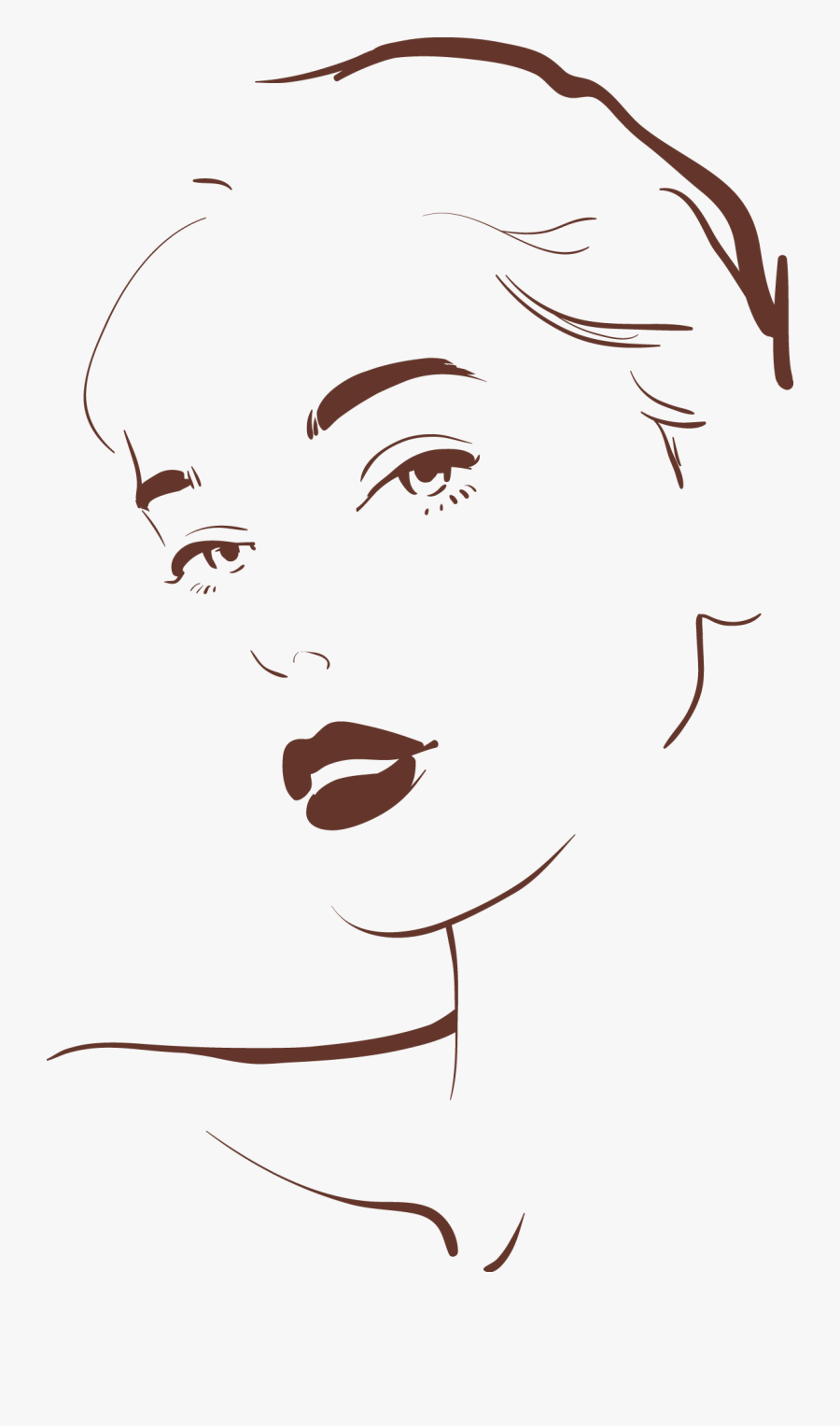 Drawing Woman Face Illustration - Woman Face Illustration Png, Transparent Clipart