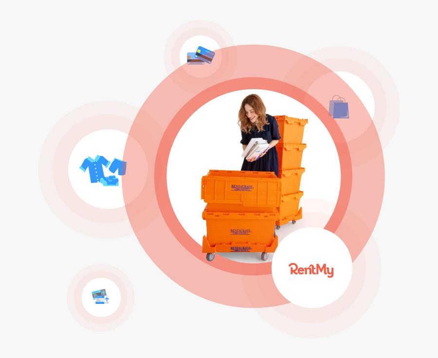 Crate Rental Software - Orange Moving Crates, Transparent Clipart