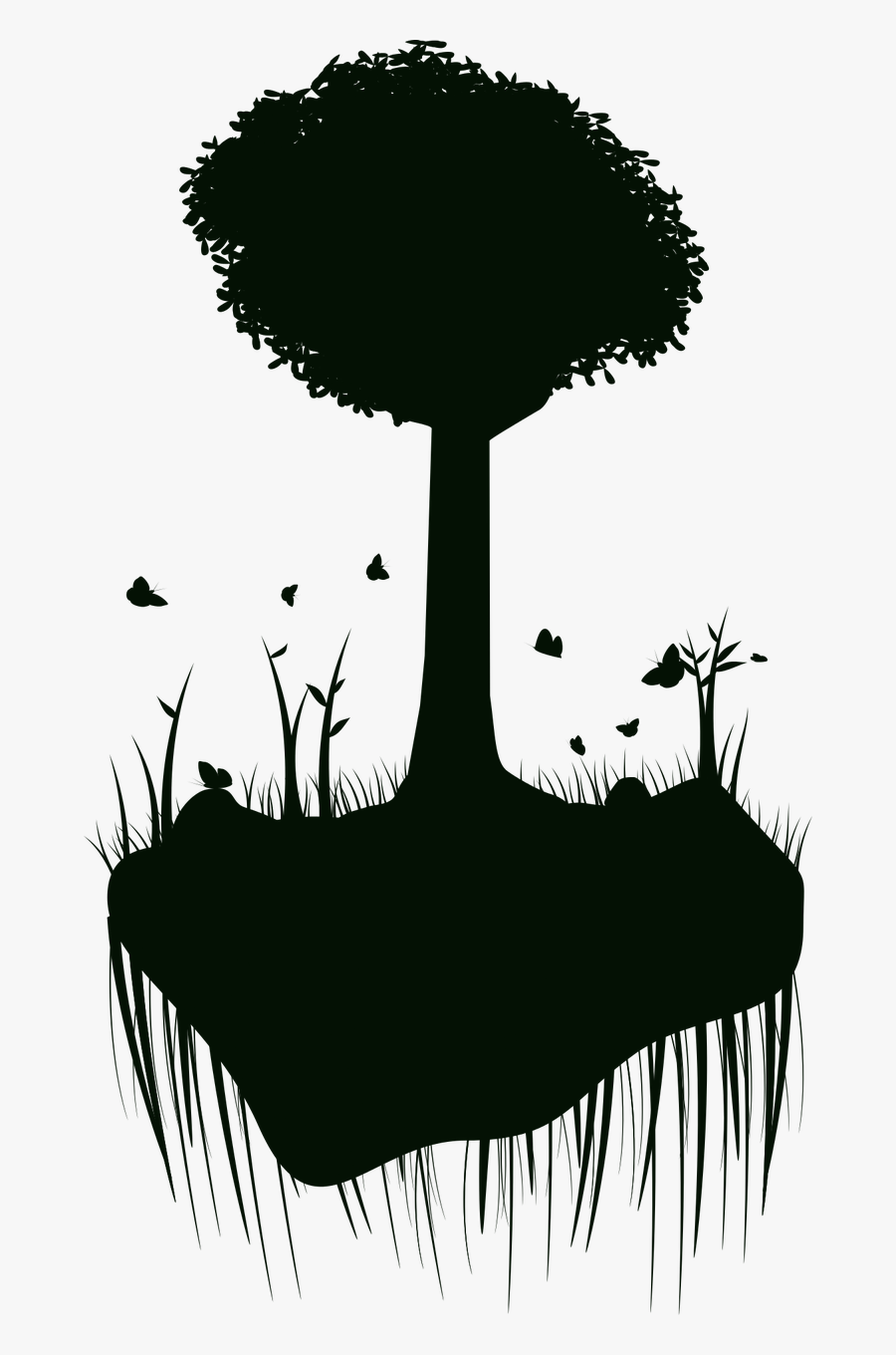 Silhouette Tree Island Free Picture - Floating Island Silhouette, Transparent Clipart