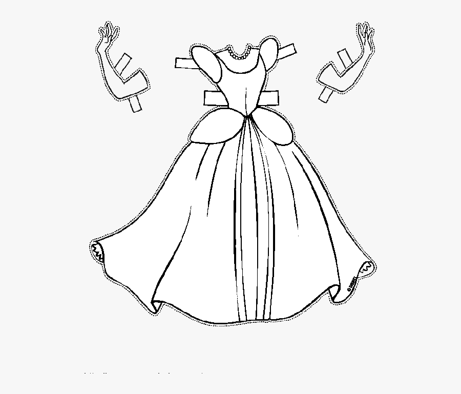 Cinderella Paper Coloring Book The Walt Disney Company - Vestido Para Colorir, Transparent Clipart