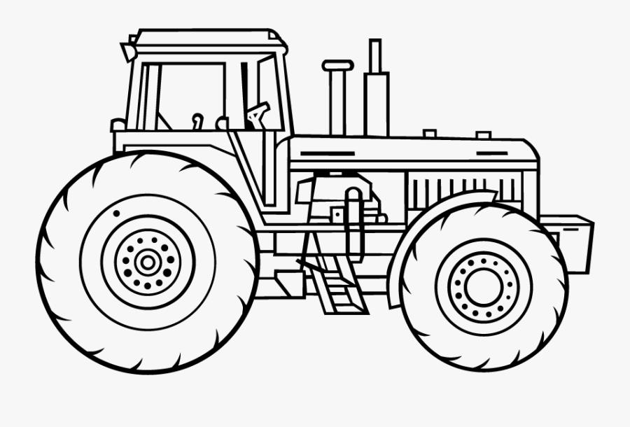 Tractor Line Art, Transparent Clipart
