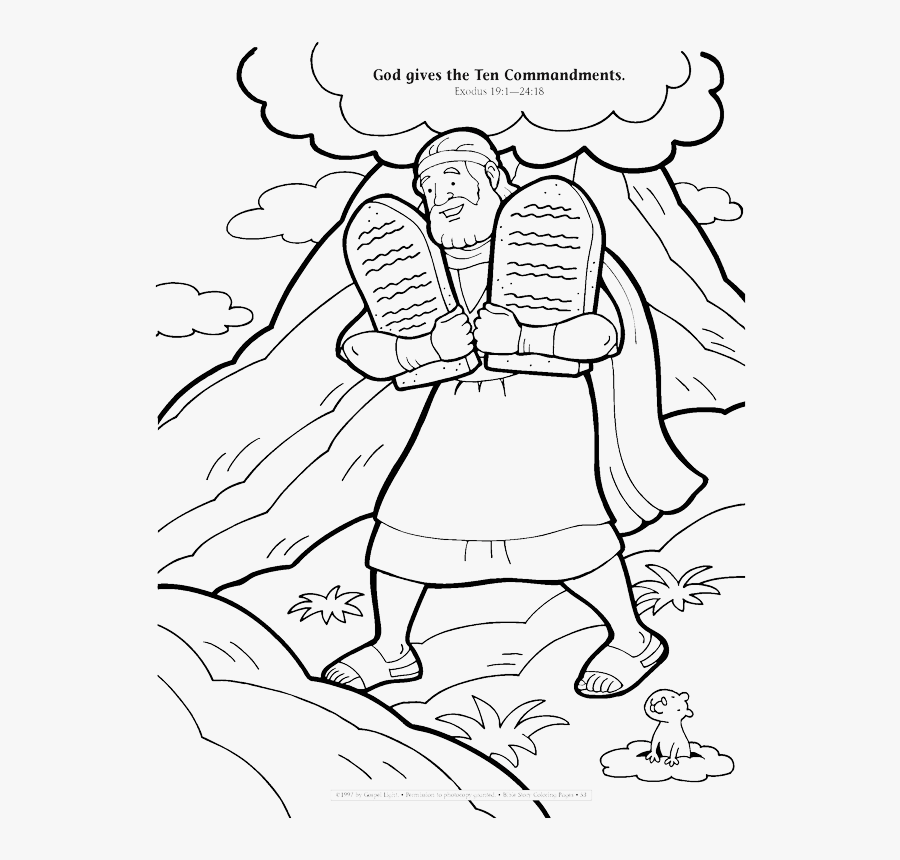 God Gives The Ten Commandments Coloring Page , Free Transparent