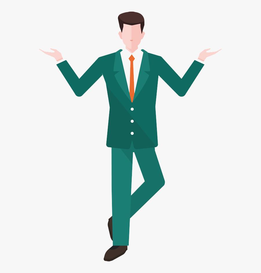 Clip Art Business Man Walking - Flat Transparent Background Man Icon Png, Transparent Clipart