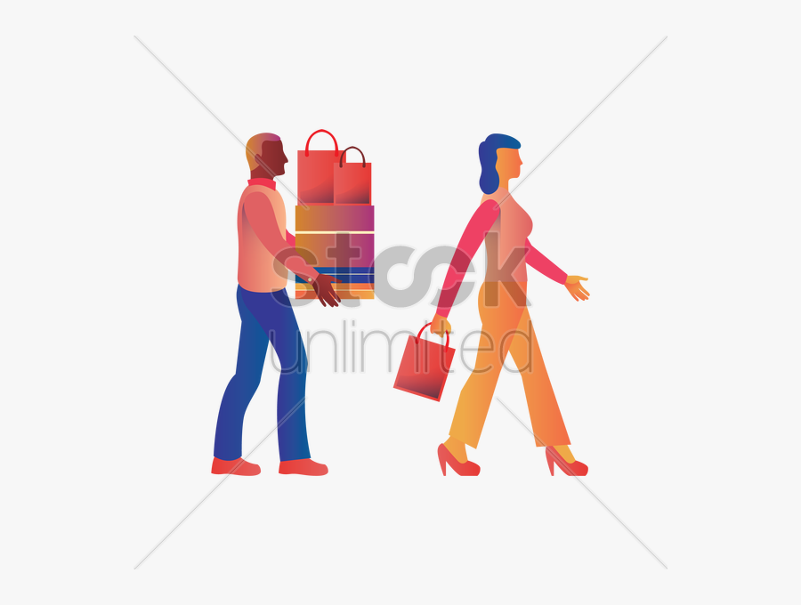 A Man Carrying Shopping Bags And Boxes For A Woman - Men Carrying Shopping Bags Png, Transparent Clipart