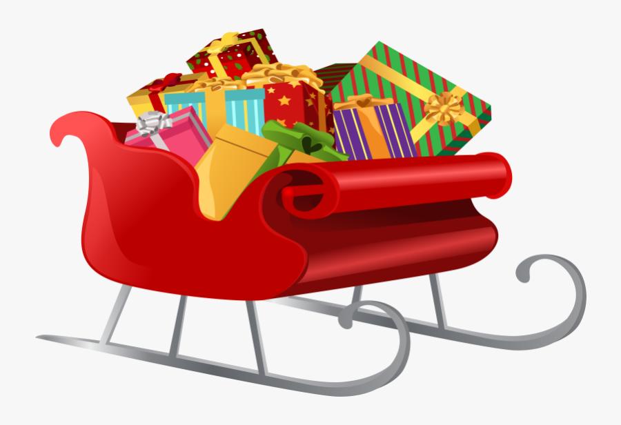 Sleigh Santa With Ts Clip Art Image Transparent Png - Transparent Christmas Sleigh Clipart, Transparent Clipart