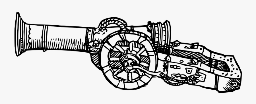 Artillery Cannon Cannonball Gun Gunpowder Weapon - Artillery Black And White, Transparent Clipart