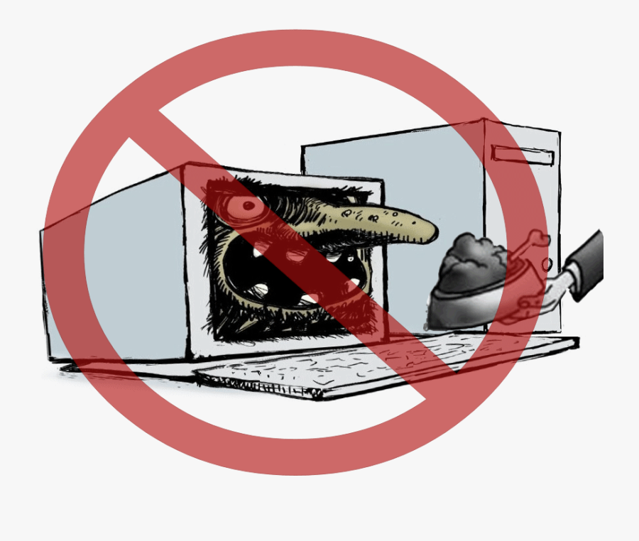 No Sign Over A Computer With A Scary Face - Internet Troll, Transparent Clipart