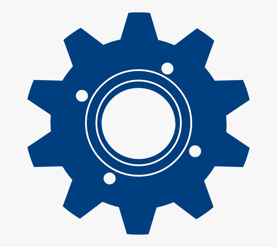 Gear, Blue, Symbol, Machine, Industrial, Equipment - Blue Gear Clipart, Transparent Clipart
