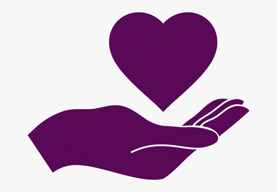 Deep Purple Icon Of Hand With Heart Above It - Hand Holding Heart Svg, Transparent Clipart