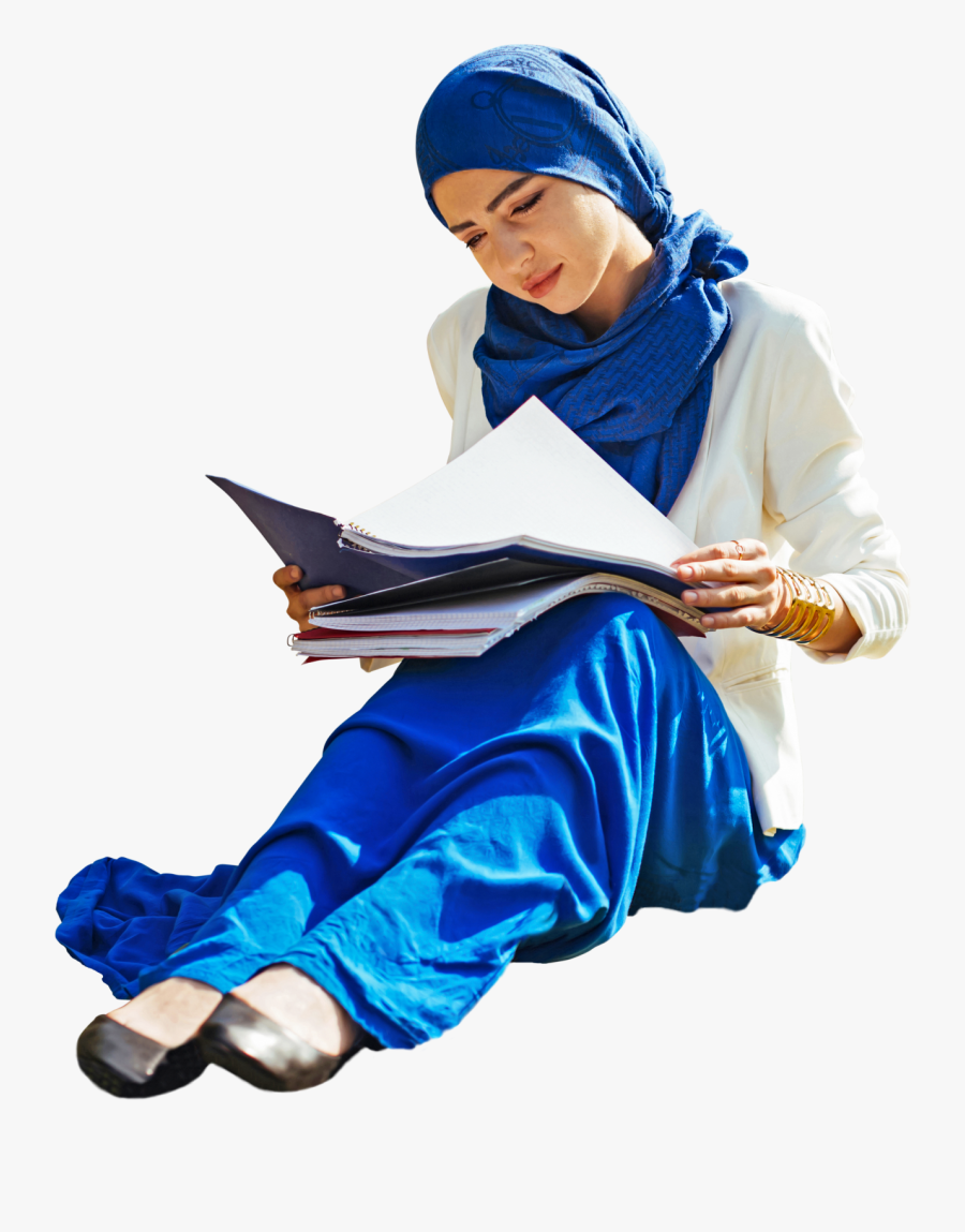 Woman Student Sitting Arab - People Sitting Studying Png, Transparent Clipart