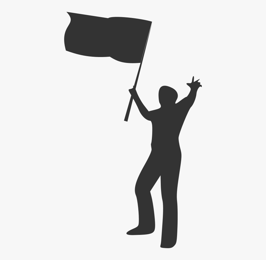 Silhouette5 - Person Raising A Flag, Transparent Clipart