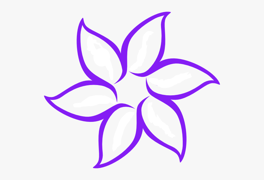 Purple Flower Outline Svg Clip Arts - Easy Simple Flower Drawings, Transparent Clipart