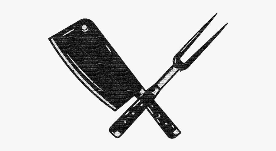 Utensils Vector Vintage Kitchen - Butcher Knife And Fork, Transparent Clipart